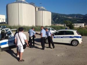 Sopralluogo al depuratore di Scafati delle pattuglie della polizia locale di Scafati e Sant'Antonio Abate