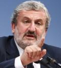 Il sindaco di Bari Michele Emiliano al tavolo dell'incontro ''Mare Nostrum'' al Meeting CL di Rimini oggi 26 agosto 2011 ANSA/PASQUALE BOVE
